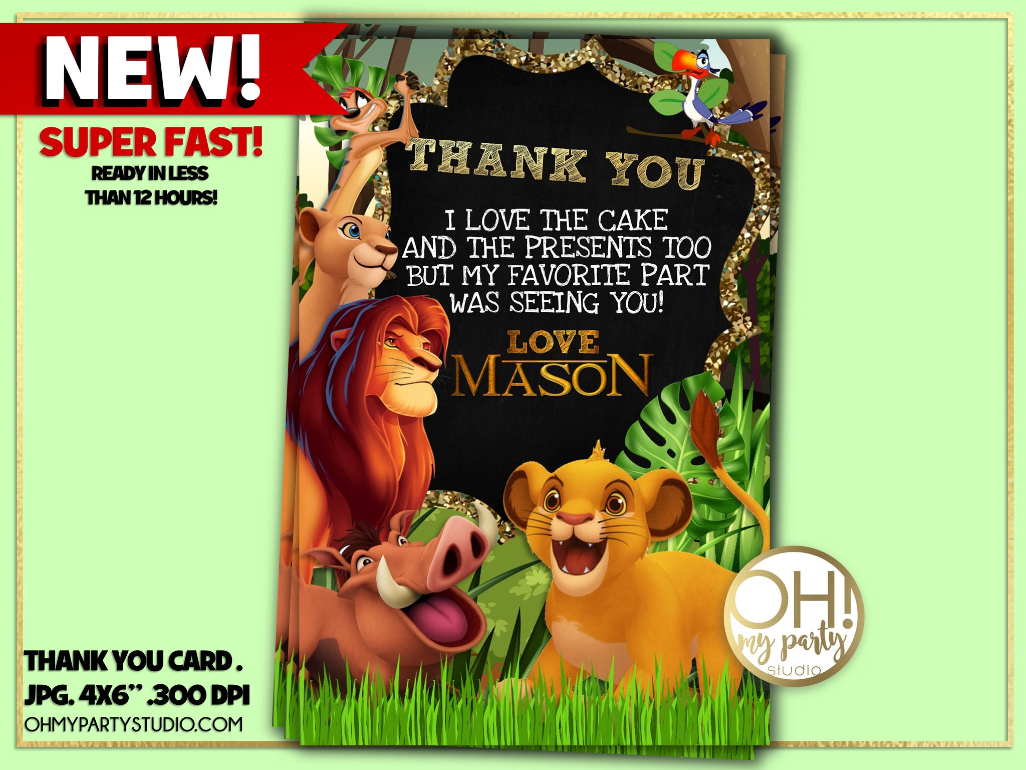 LION KING THANK YOU CARD, LION KING BIRTHDAY PARTY, LION KING PARTY SUPPLIES, LION KING PARTY PRINTABLES, LION KING PARTY , LION KING BIRTHDAY, LION KING PARTY IDEAS, LION KING CARD