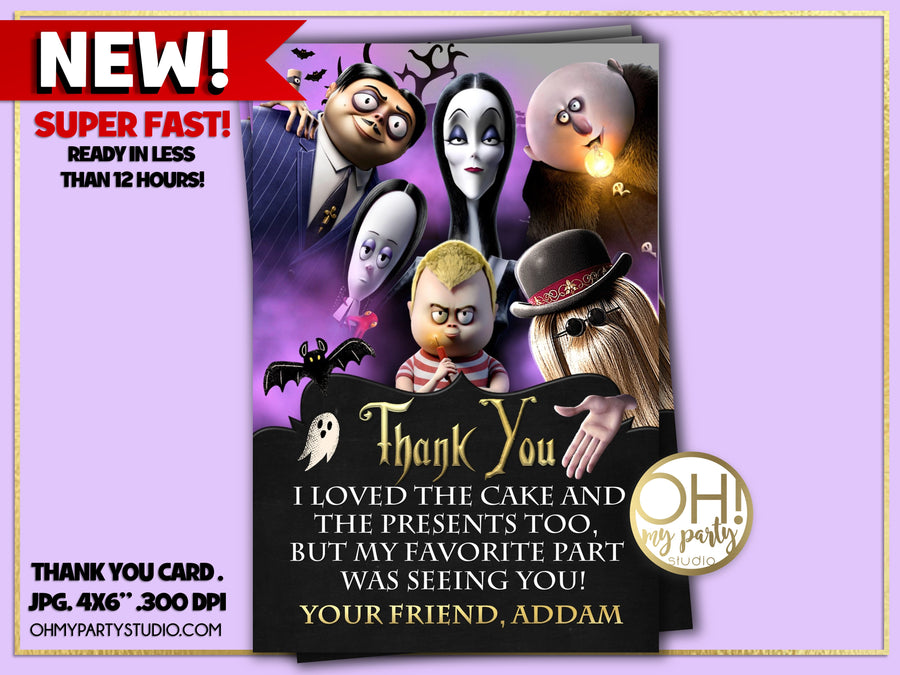 ADDAMS FAMILY THANK YOU CARD, ADDAMS FAMILY  PARTY, ADDAMS FAMILY  BIRTHDAY, ADDAMS FAMILY PARTY PRINTABLES, ADDAMS FAMILY DECORATIONS, ADDAMS FAMILY  FAVORS, ADDAMS FAMILY PARTY SUPPLIES, ADDAMS FAMILY  PARTY DECORATIONS, ADDAMS FAMILY PARTY IDEAS, ADDAMS FAMILY BIRTHDAY PARTY, ADDAMS FAMILY TAGS