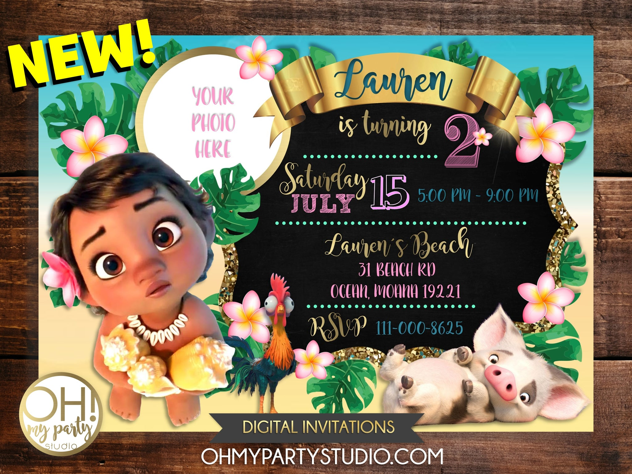 picture regarding Printable Moana Invitations named Youngster MOANA BIRTHDAY Social gathering INVITATION WITH Photograph