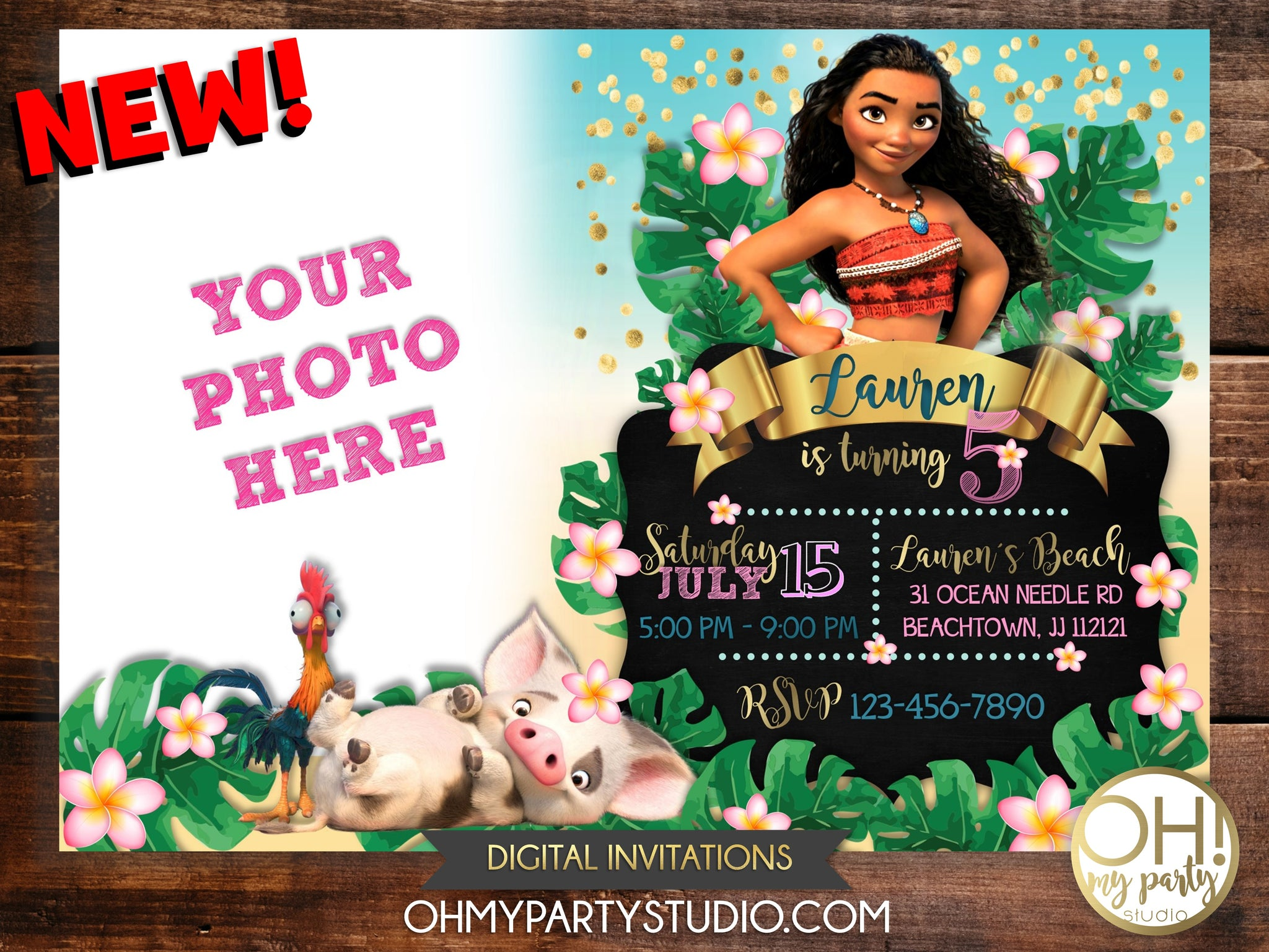 picture regarding Printable Moana Invitations titled MOANA BIRTHDAY Social gathering INVITATION