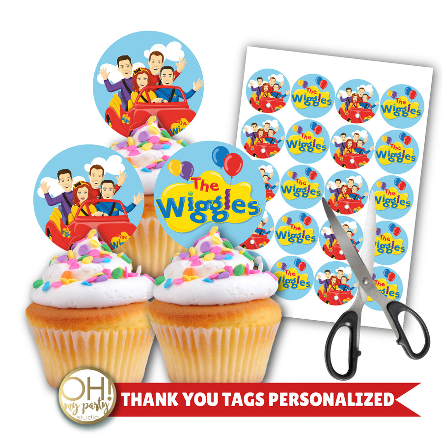 THE WIGGLES CUPCAKE TOPPERS, THE WIGGLES BIRTHDAY PARTY, THE WIGGLES PARTY DECORATIONS, THE WIGGLES PARTY SUPPLIES