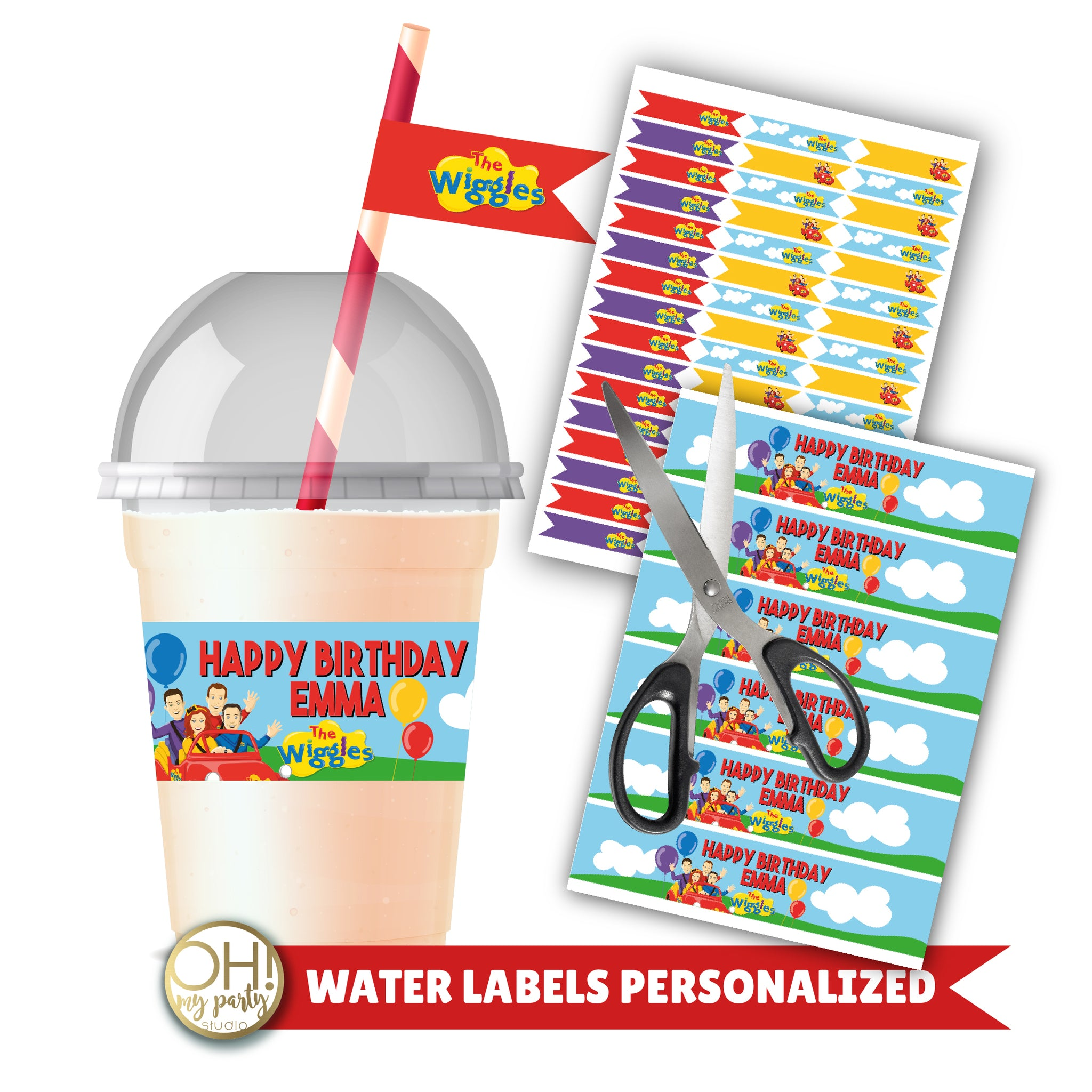 THE WIGGLES WATER LABELS PERSONALIZED, THE WIGGLES WATER