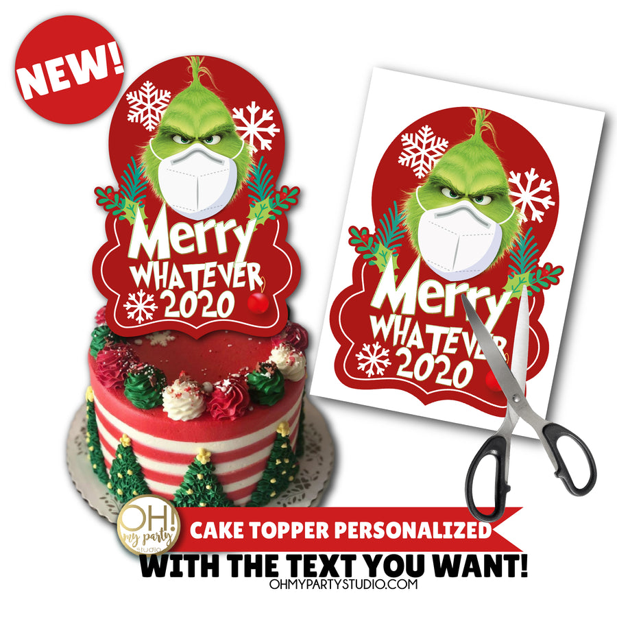 GRINCH CAKE TOPPER PERSONALIZED, GRINCH BIRTHDAY PARTY, GRINCH PARTY PRINTABLES, GRINCHMAS 2020, GRINCH COVID, GRINCH CORONAVIRUS, GRINCHMAS 2020, GRINCHMAS PARTY DECORATION, GRINCHMAS PARTY IDEAS, GRINCH PARTY IDEAS, GRINCH CAKE