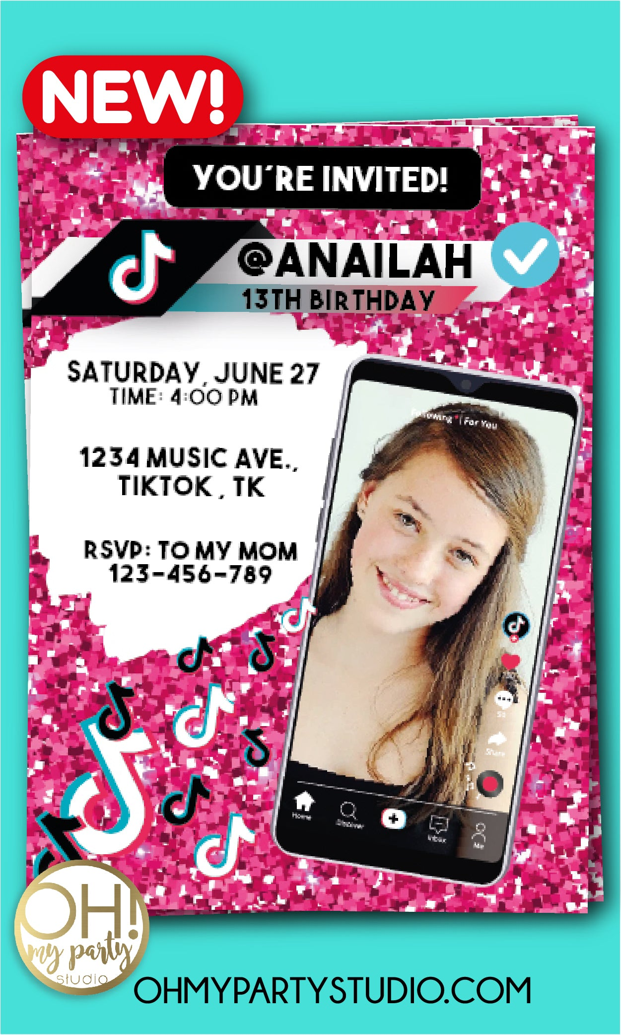 TIKTOK BIRTHDAY PARTY INVITATION