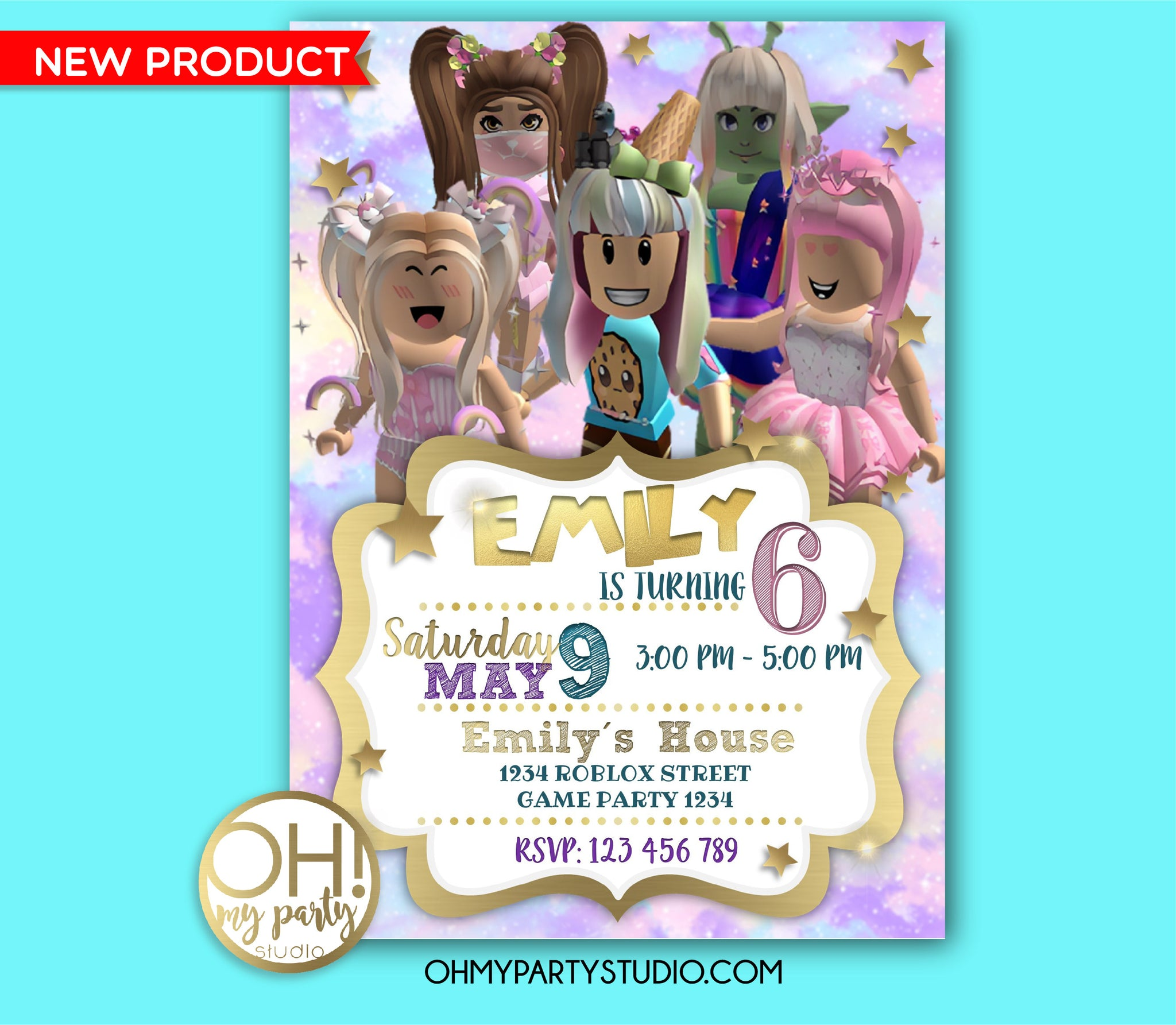 ROBLOX BIRTHDAY PARTY INVITATION, ROBLOX INVITATION GIRL, ROBLOX BIRTHDAY INVITATION, ROBLOX PARTY INVITATION