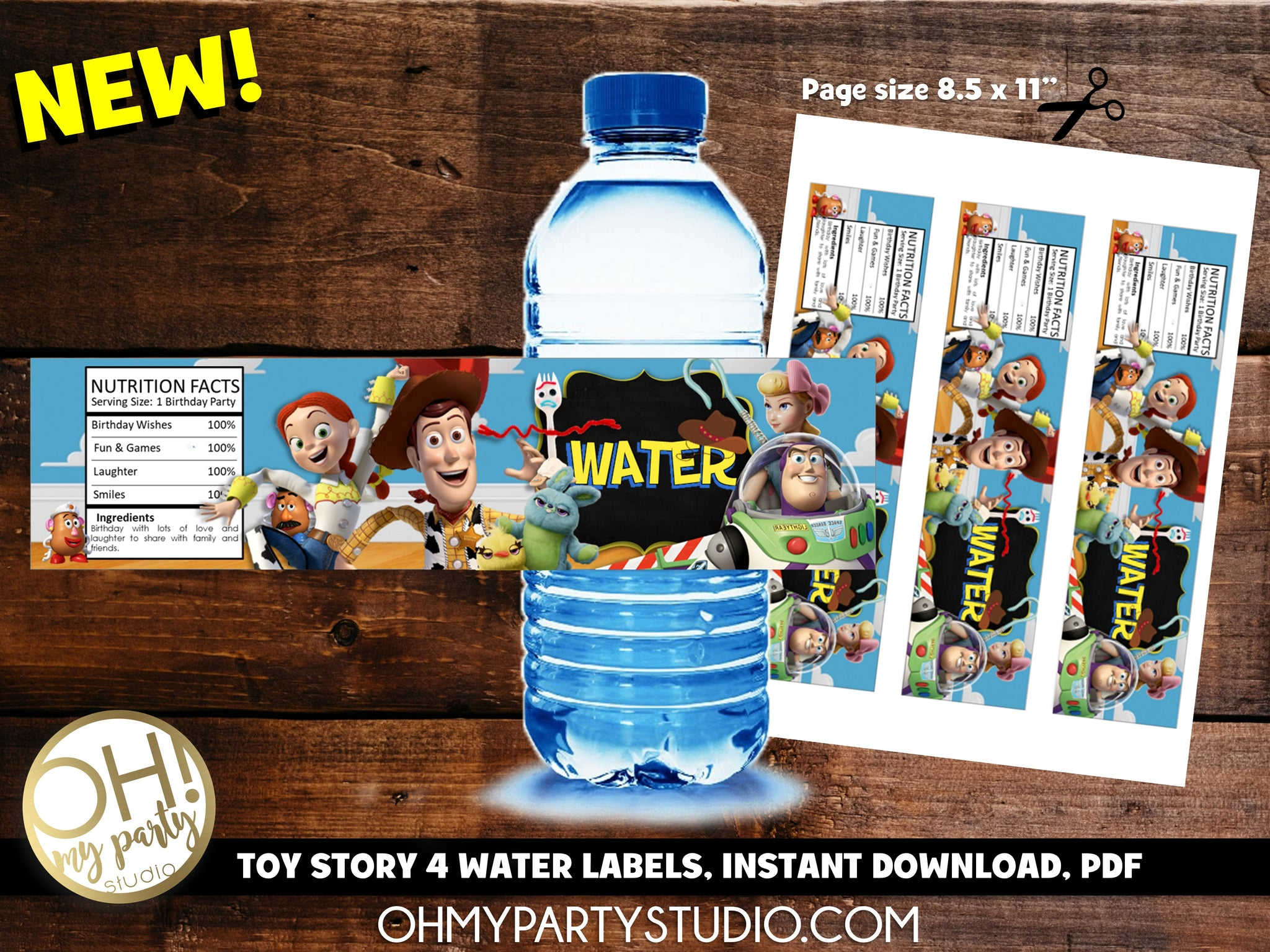 TOY STORY 4 WATER LABELS INSTANT DOWNLOAD