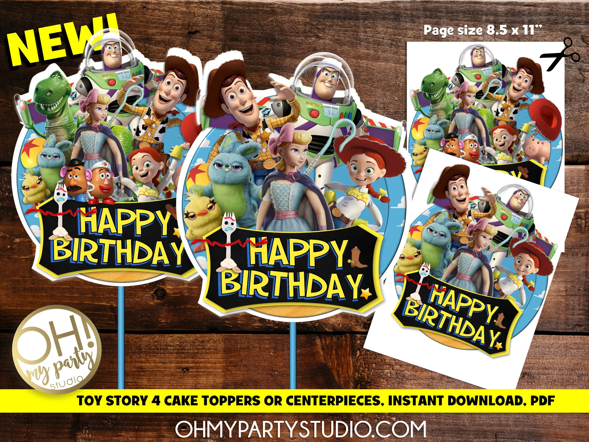 TOY STORY 4 CENTERPIECES OR CAKE TOPPER INSTANT DOWNLOAD