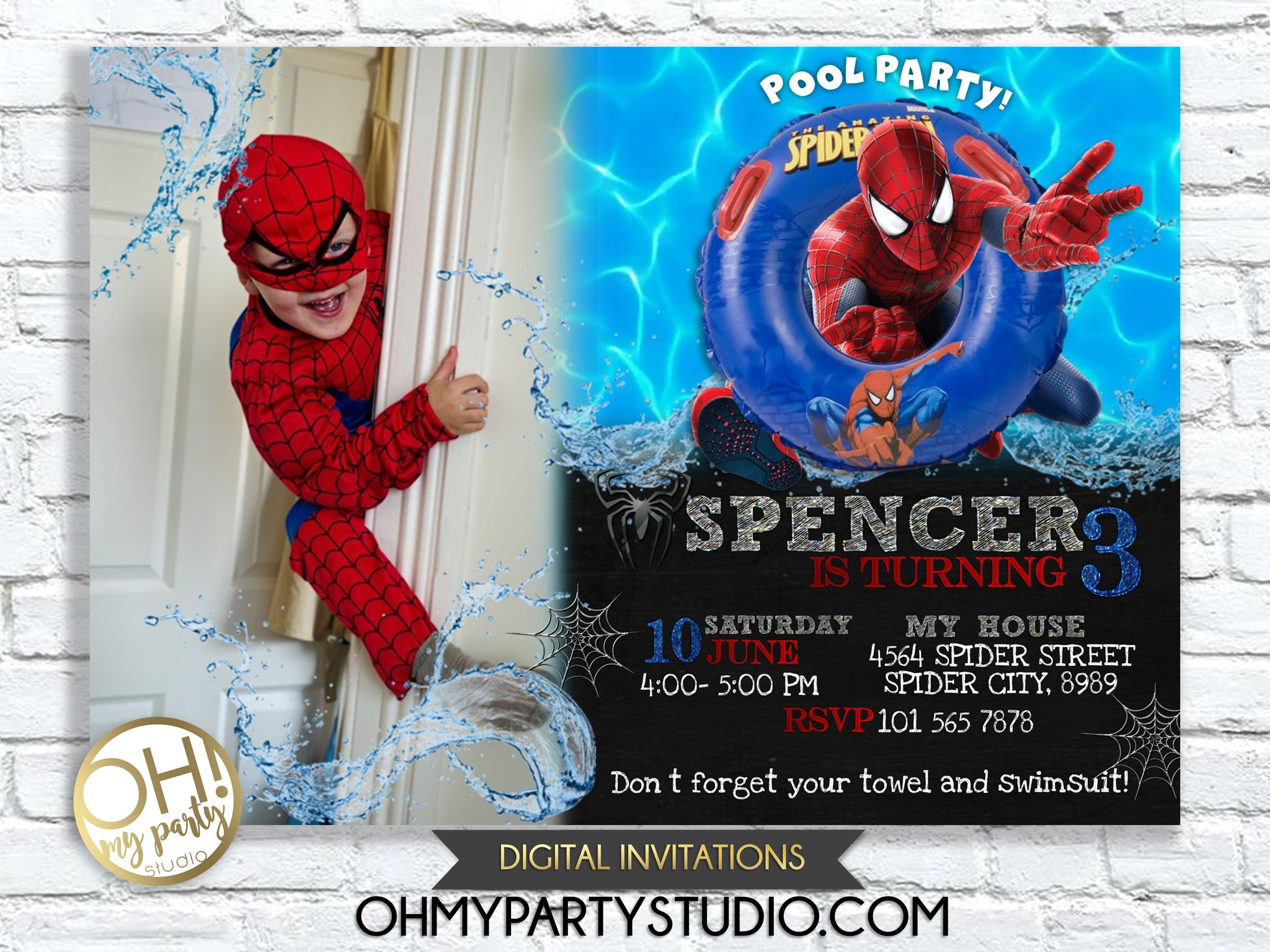graphic relating to Printable Spiderman Invitations called SPIDERMAN BIRTHDAY Get together INVITATION