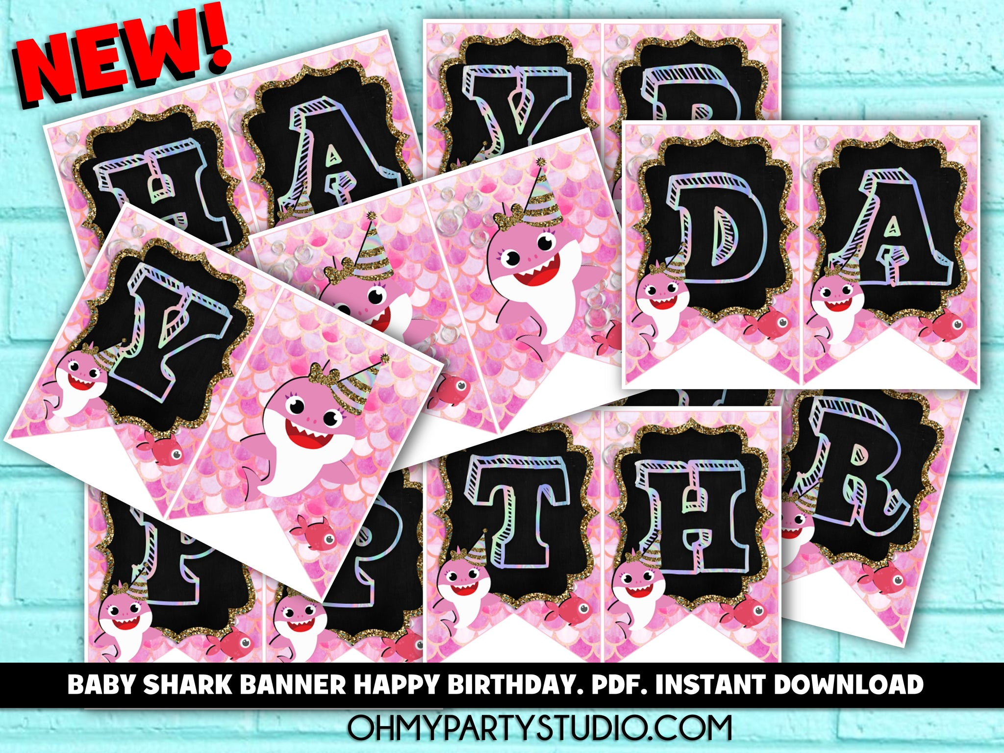 BABY SHARK BANNER INSTANT DOWNLOAD