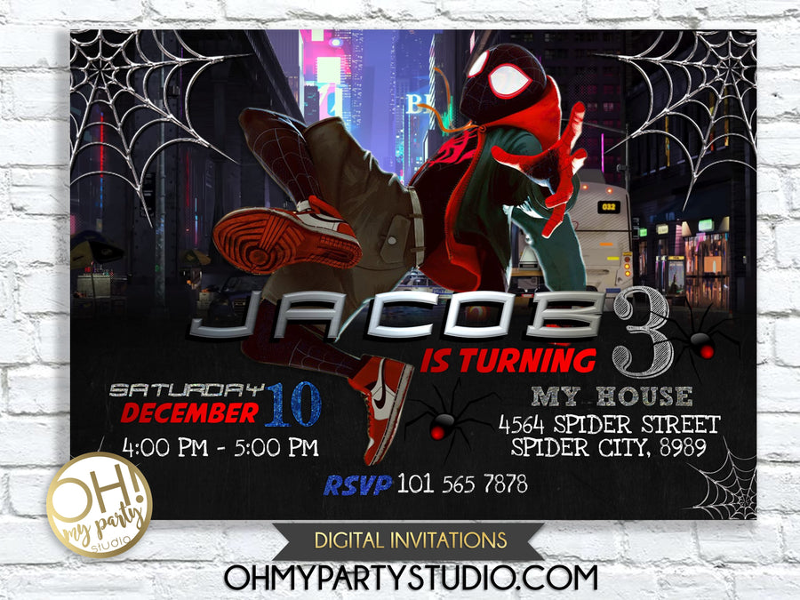 SPIDER VERSE INVITATIONS , SPIDER VERSE INVITATION, MILES MORALES INVITATION, SPIDER VERSE INVITE, SPIDER VERSE PARTY IDEAS, SPIDER VERSE BIRTHDAY, SPIDER VERSE PARTY, SPIDER VERSE PRINTABLES,Spider-Man Into the Spider-Verse Invitation, Spider-Man Invitation, Spider-Verse, Spider-Man Birthday, Spider-Man, Miles Morales, Spiderman, spider verse invitation