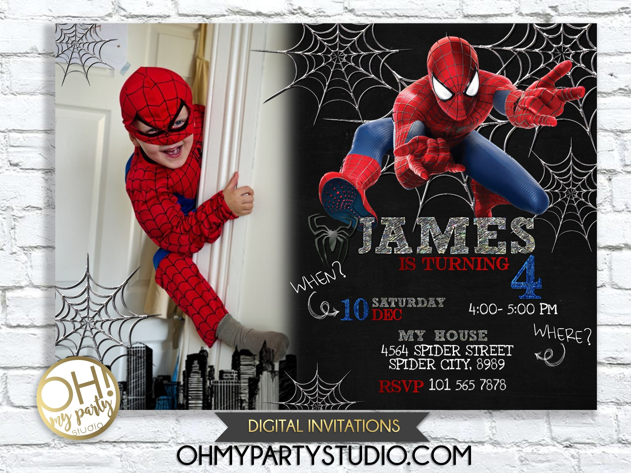photograph regarding Printable Spiderman Invitations named SPIDERMAN BIRTHDAY Celebration INVITATION WITH Image
