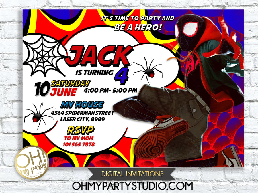 Spider-Man Into the Spider-Verse Invitation, Spider-Man Invitation, Spider-Verse, Spider-Man Birthday, Spider-Man, Miles Morales, Spiderman, spider verse invitation