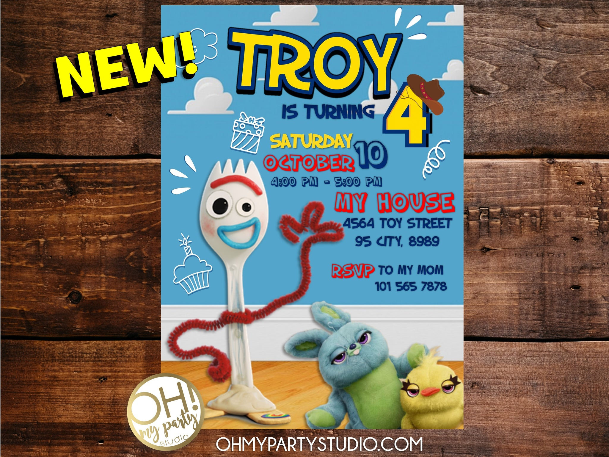 FORKY BIRTHDAY INVITATION