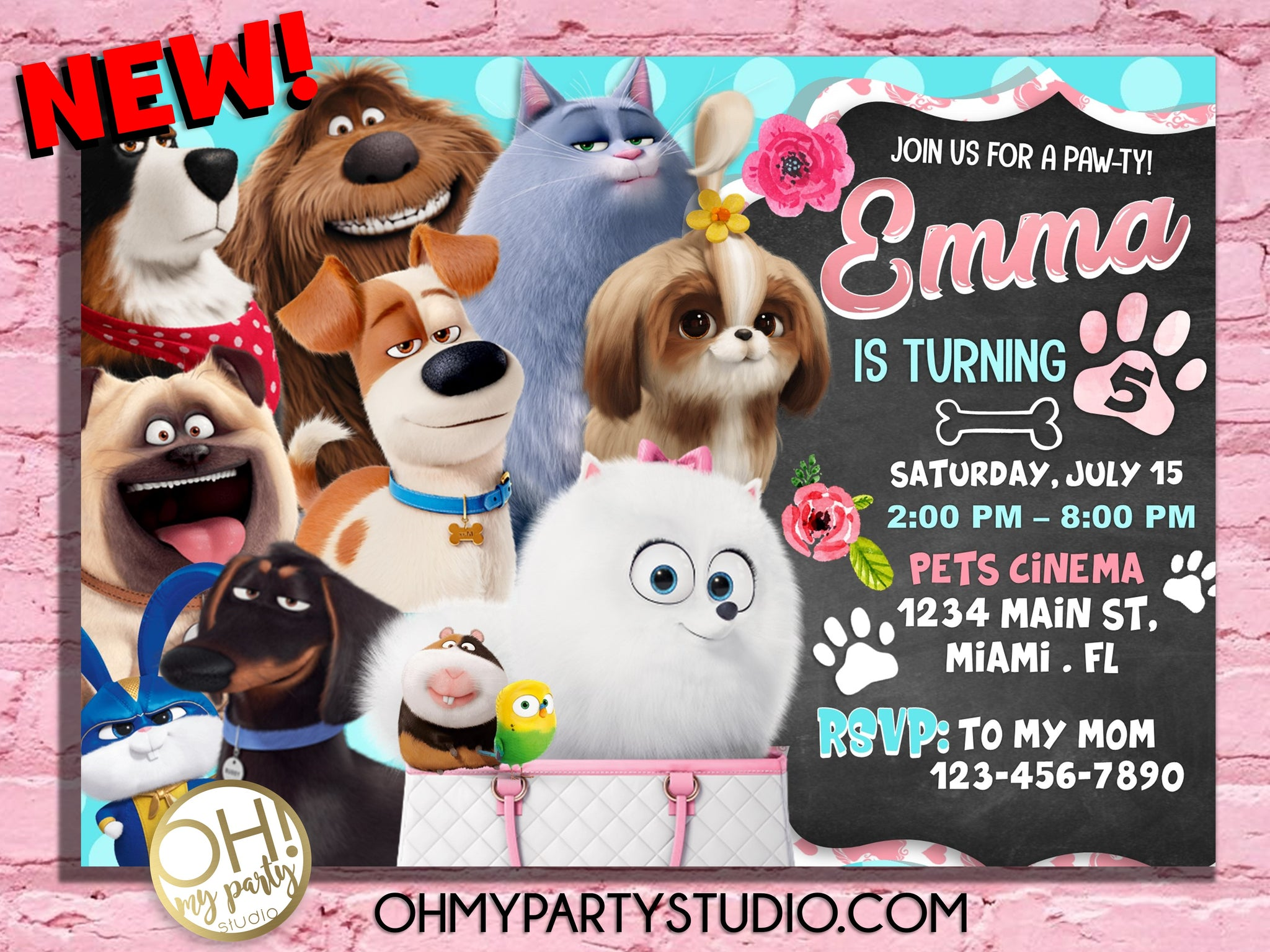 Secret Life Of Pets 2 birthday invitation girl