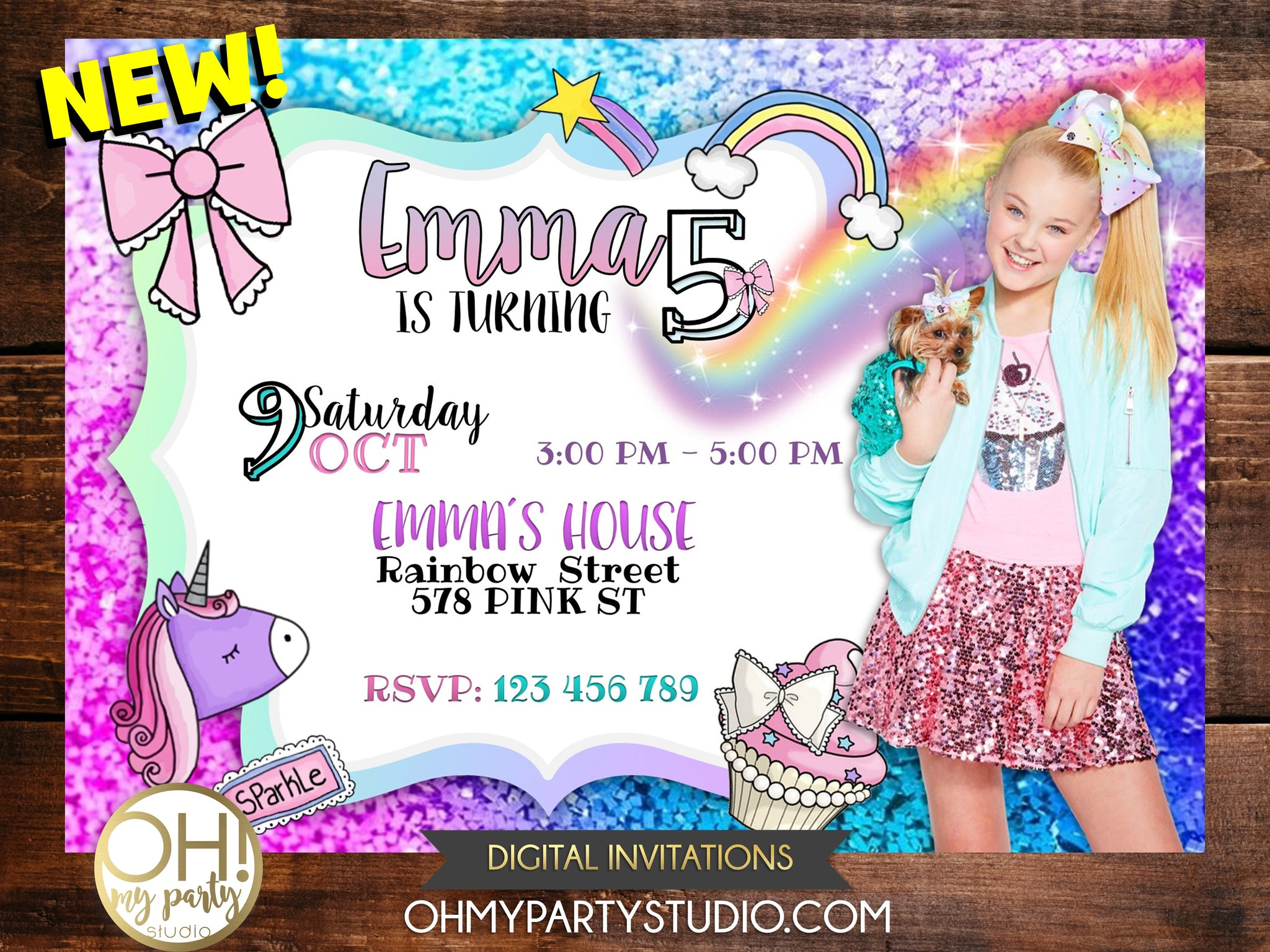 JOJO SIWA BIRTHDAY INVITATION, JOJO SIWA PARTY, JOJO SIWA BIRTHDAY, JOJO SIWA PARTY,JOJO SIWA BIRTHDAY PARTY, JOJO SIWA INVITATION, JOJO SIWA INVITATIONS