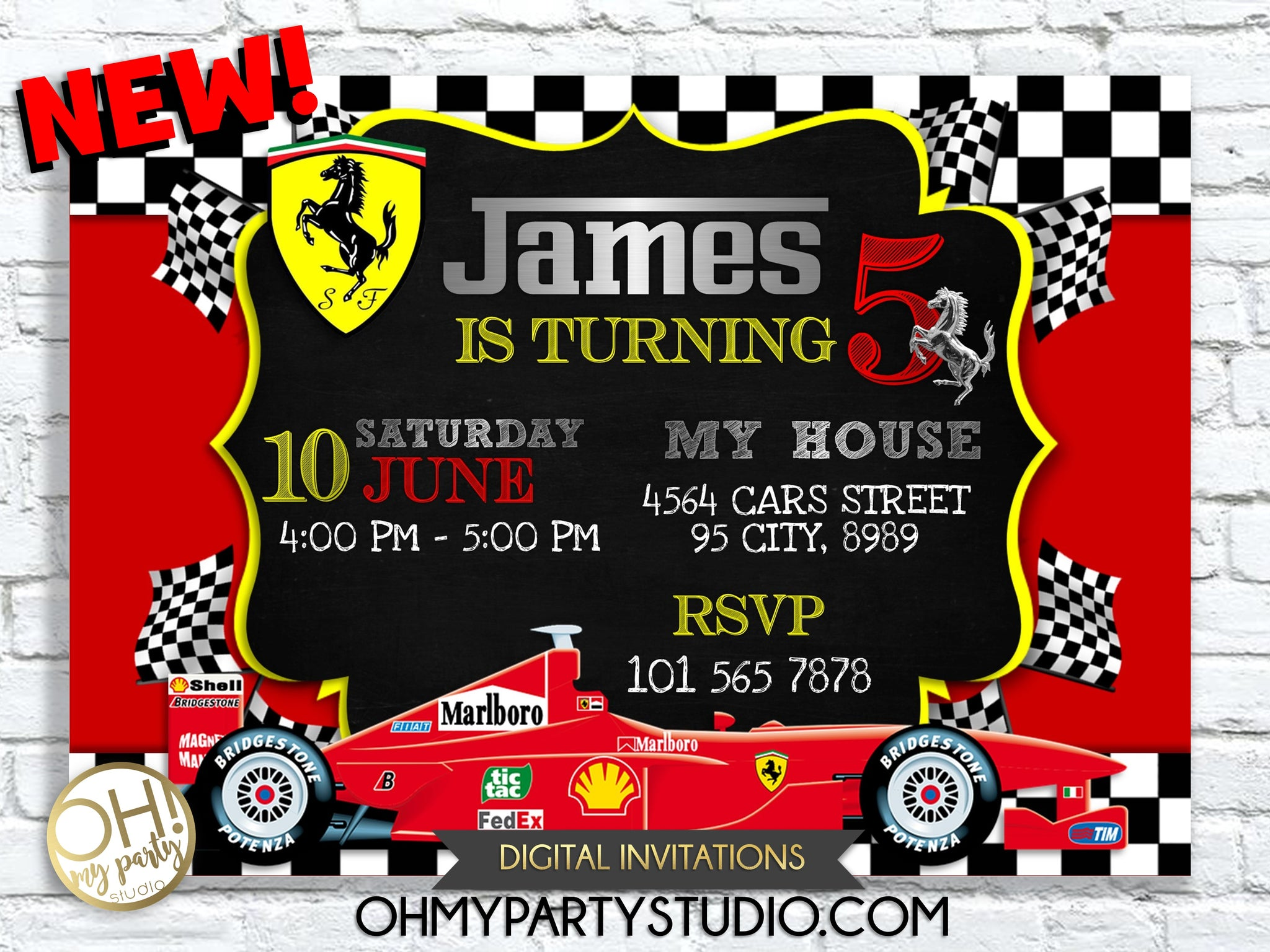 FERRARI BIRTHDAY INVITATION