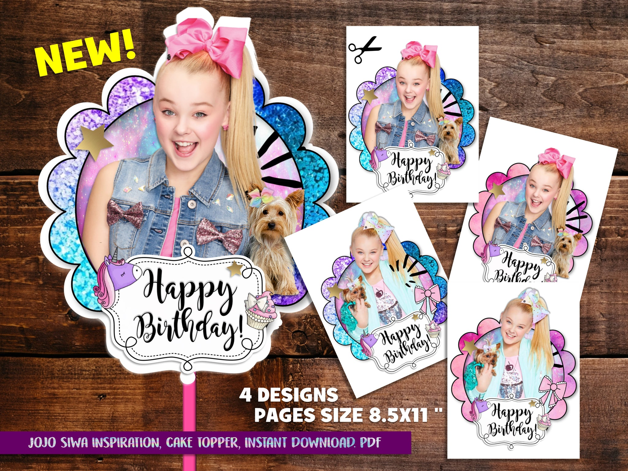 JOJO SIWA CUPCAKE TOPPERS - OH MY PARTY STUDIO