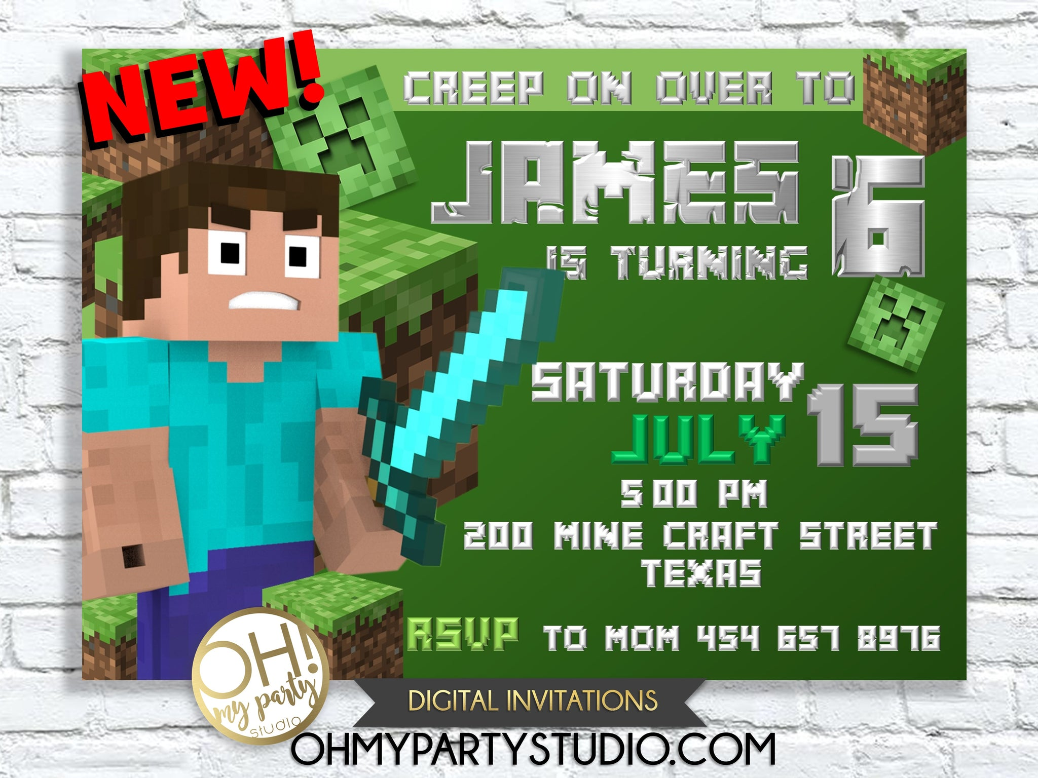 This is a photo of Minecraft Party Ideas Printable with regard to pendant