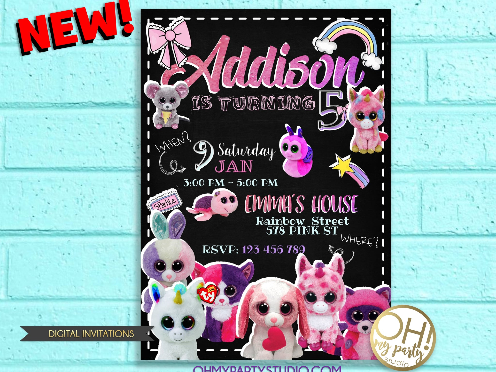 BEANIE BOO INVITATION, BEANIE BOO INVITATION DIGITAL,BEANIE BOO PARTY,BEANIE BOO PARTY PRINTABLES,BEANIE BOO INVITATIONS,BEANIE BOO BIRTHDAY PARTY INVITATION