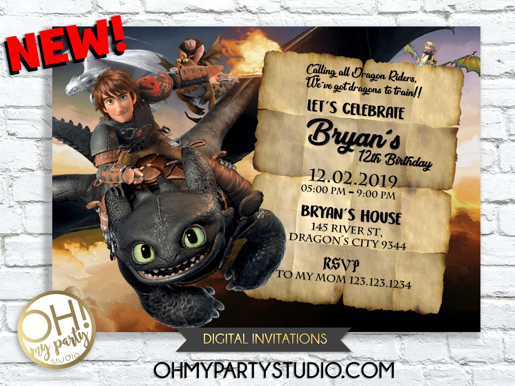 HOW TO TRAIN YOUR DRAGON INVITATION, HOW TO TRAIN YOUR DRAGON BIRTHDAY, HOW TO TRAIN YOUR DRAGON INVITATIONS, HOW TO TRAIN YOUR DRAGON PARTY