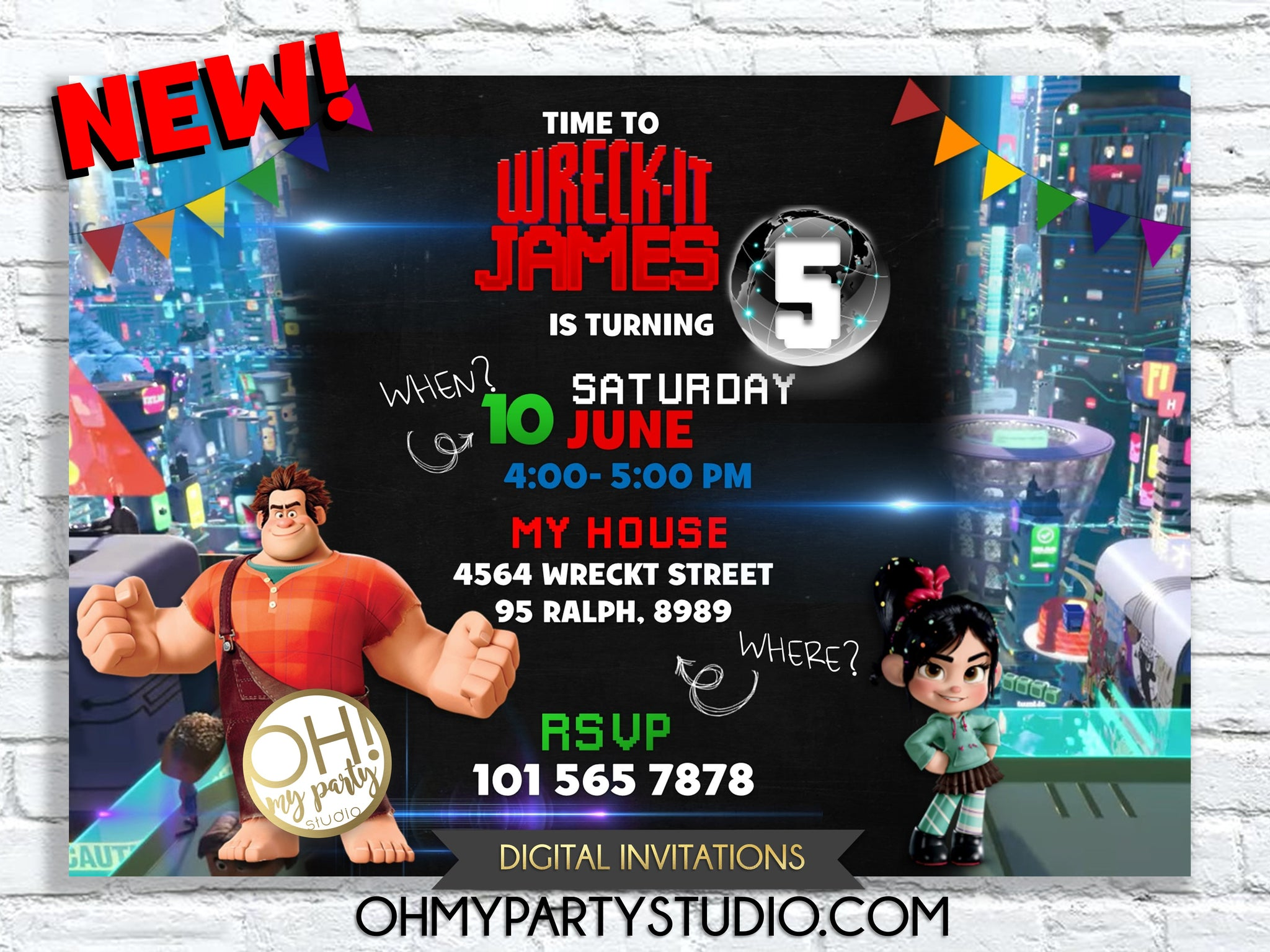 Wreck It Ralph Invitation, Wreck-It Ralph Birthday Party, Vanellope Invite, Ralph Breaks Internet Invitation, Wreck It Ralph Custom Card