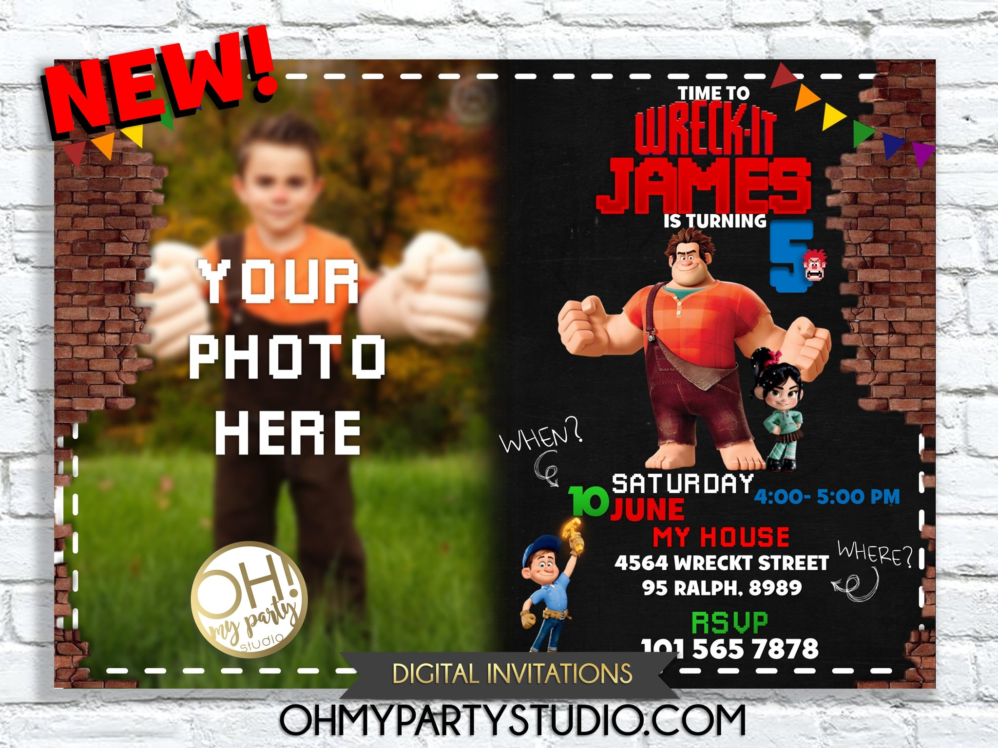 WRECK IT RALPH BIRTHDAY PARTY INVITATION
