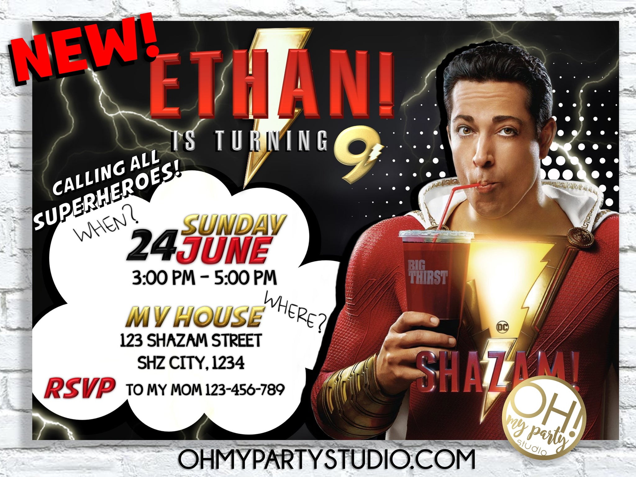 SHAZAM BIRTHDAY INVITATION, SHAZAM BIRTHDAY, SHAZAM PARTY, SHAZAM BIRTHDAY PARTY, SHAZAM INVITATION, SHAZAM INVITATIONS, SHAZAM PARTY IDEAS, SHAZAM