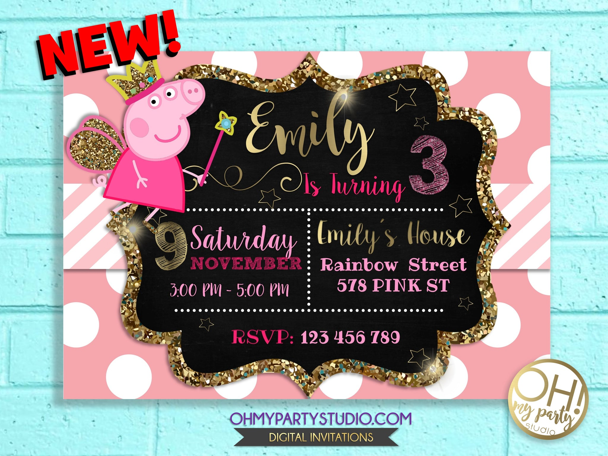 picture about Peppa Pig Printable Invitations identify Items Web page 6 - OH MY Bash STUDIO