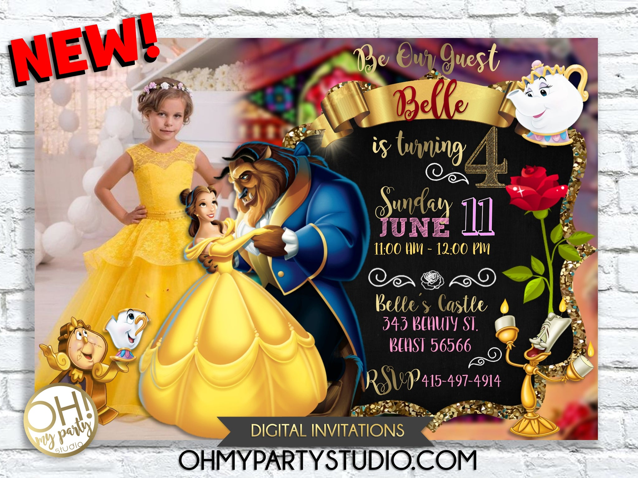 Beauty and The Beast Invitations, Beauty and The Beast Birthday Invitation, Beauty Invitation Printable File, Beauty Belle Invitation,Royal Celebration Birthday Party, Princess Birthday Party Invite