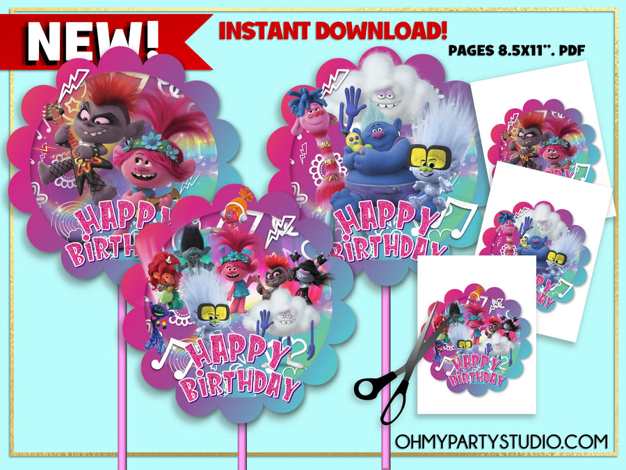 TROLLS 2 BIRTHDAY PARTY, TROLLS 2 PARTY DECORATIONS, TROLLS 2 DECORATIONS, TROLLS 2 CAKE, TROLLS 2 CENTERPIECES, TROLLS 2 PARTY IDEAS, TROLLS 2 PARTY PRINTABLES, TROLLS 2 INSTANT DOWNLOAD, TROLLS 2 PARTY, TROLLS 2 BIRTHDAY