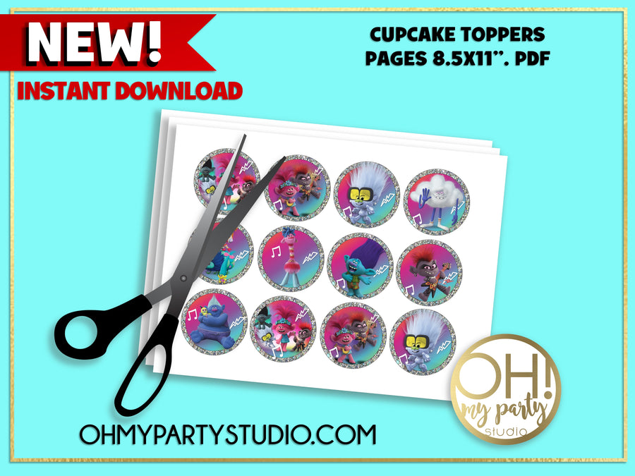 TROLLS 2 CUPCAKE TOPPERS. TROLLS 2 PARTY PRINTABLES, TROLLS 2 INSTANT DOWNLOAD, TROLLS 2 PARTY SUPPLIES, TROLLS 2 PARTY, TROLLS 2 BIRTHDAY, TROLLS 2 PARTY IDEAS, TROLLS WORLD TOUR PARTY, TROLLS WORLS TOUR BIRTHDAY, TROLLS WORLD TOUR PARTY PRINTABLES, TROLLS WORLD TOUR PARTY SUPPLIES, TROLLS WORLD TOUR PARTY IDEAS, TROLLS WORLD TOUR CUPCAKES TOPPERS, TROLLS 2 CUPCAKES