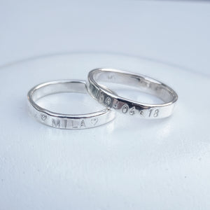 3mm Sterling Silver Hand Stamped Ring