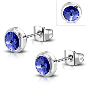 Bezel set round capri blue 6mm