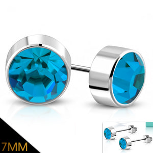 Bezel set round blue zircon 7mm