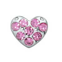 Heart - Silver with Pink Rhinestones