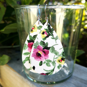 Teardrop - White with Pink Floral