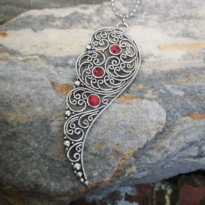 Angel Wing with Red Beads
