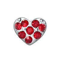 Heart - Mini Silver & Red Rhinestones