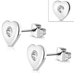 Silver heart with rhinestone