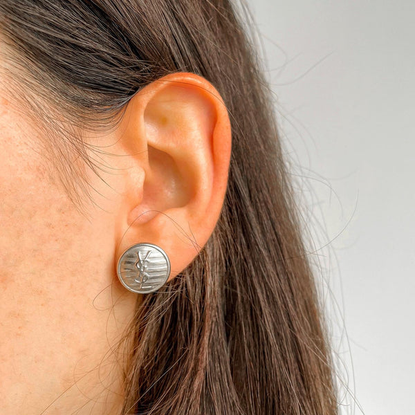 Silver YSL Button Earrings