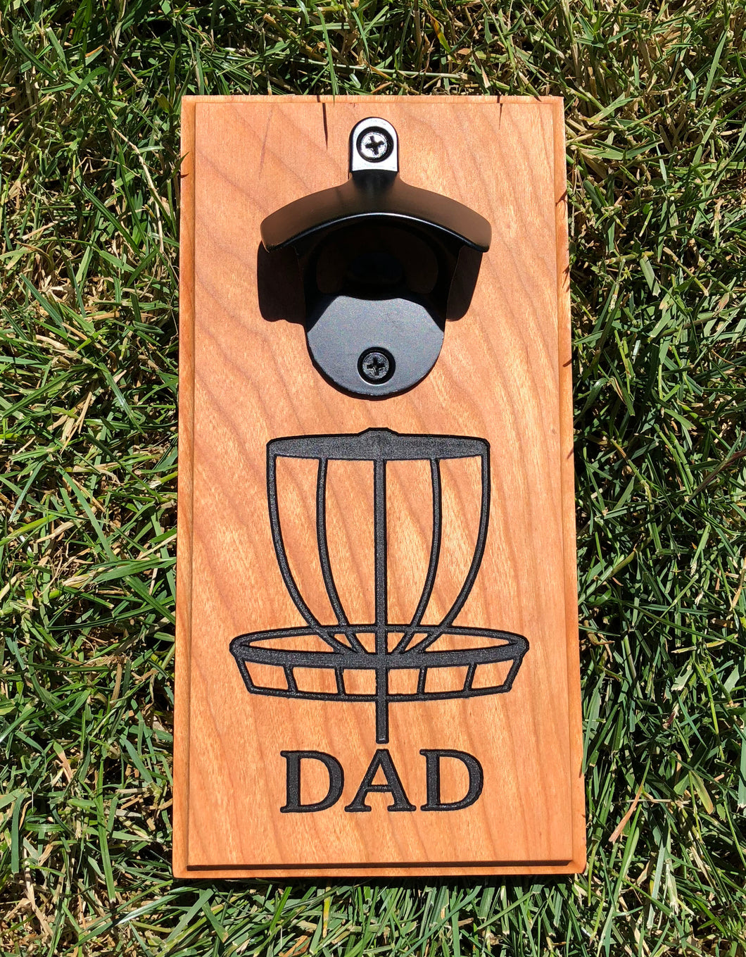 Magnetic Bottle Opener: Dad Disc Golf Basket