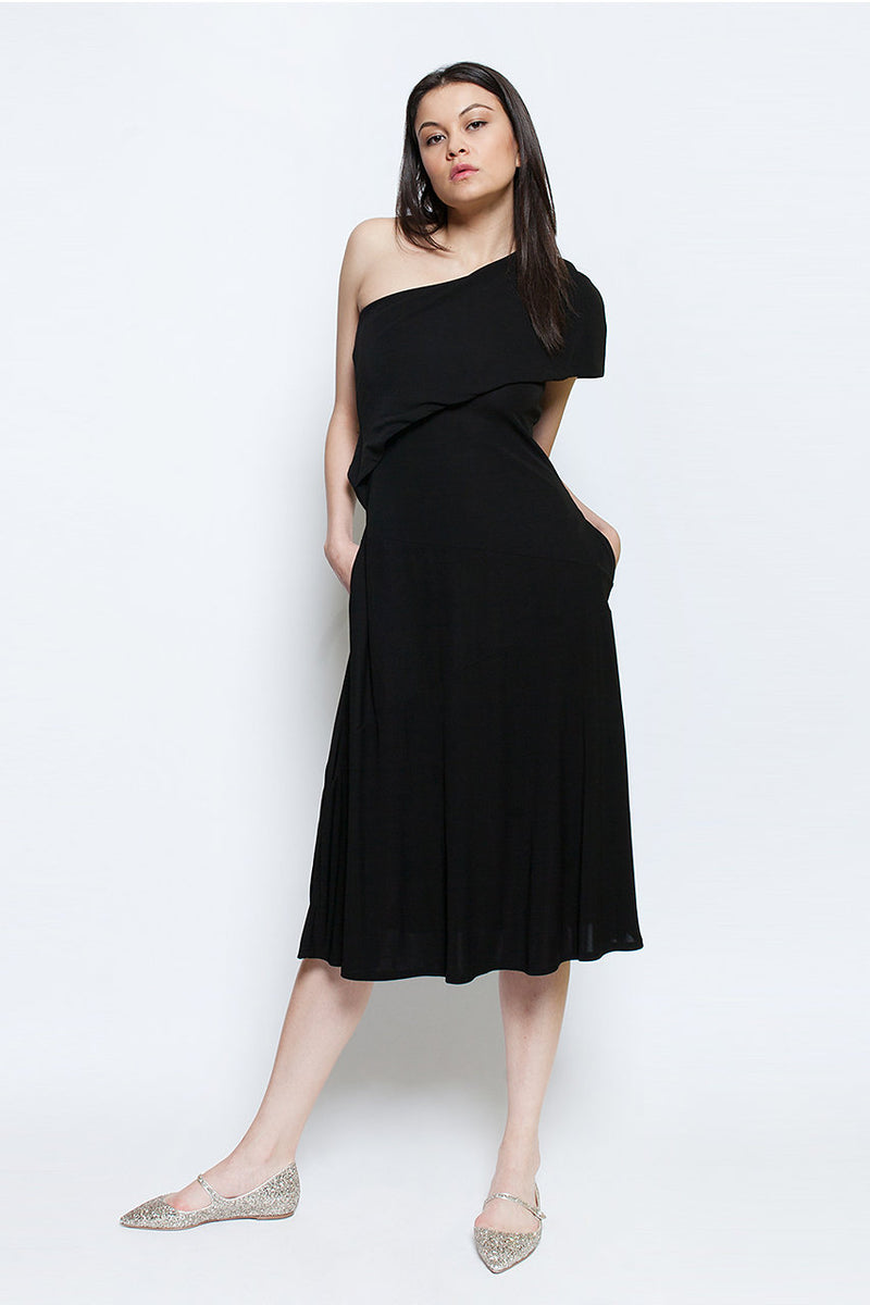 one shoulder black summer amalfi dress ellera