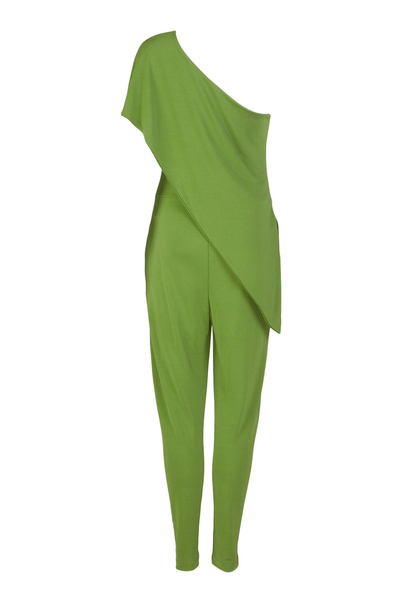 one shoulder green travel vacation amalfi jumpsuit ellera