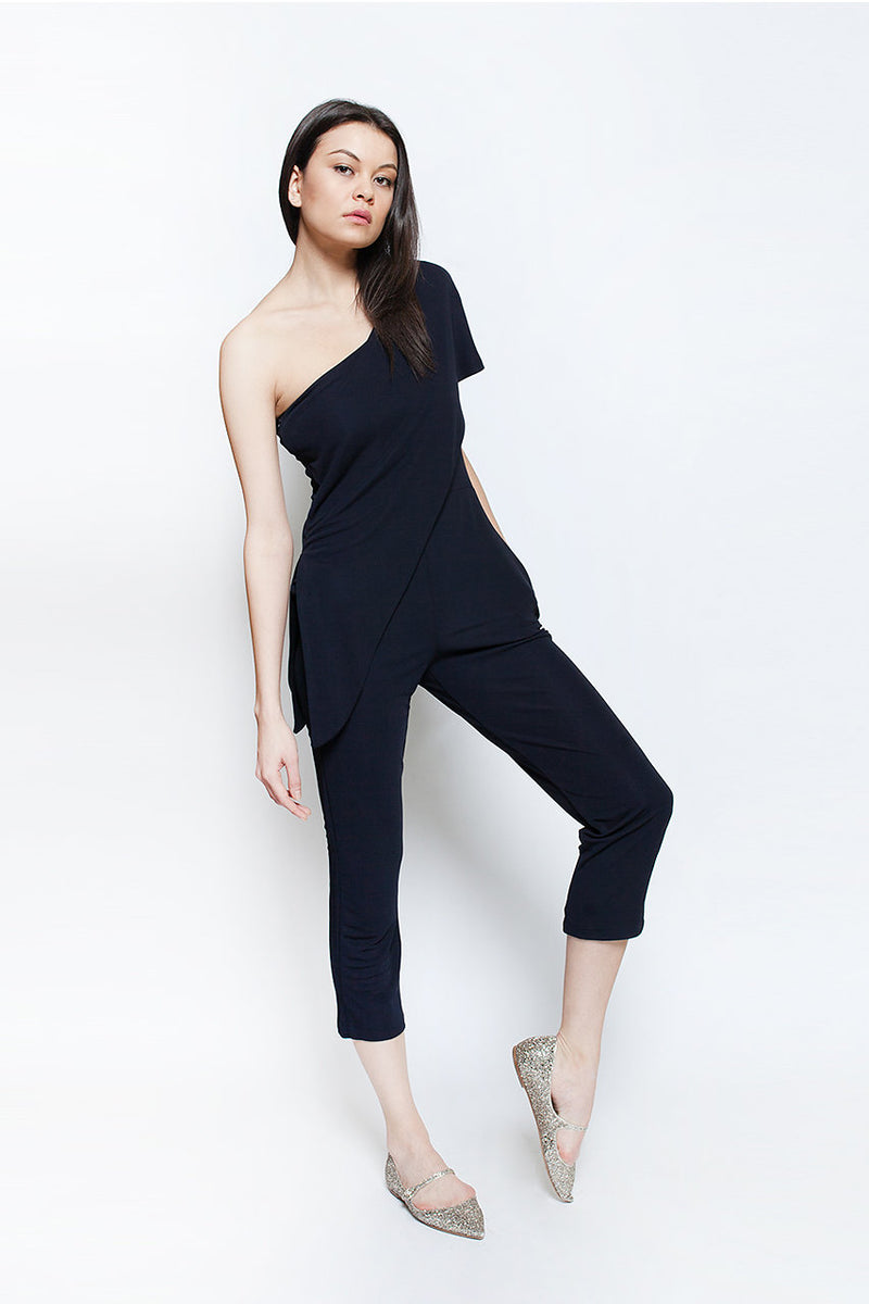 one shoulder black travel vacation amalfi jumpsuit ellera