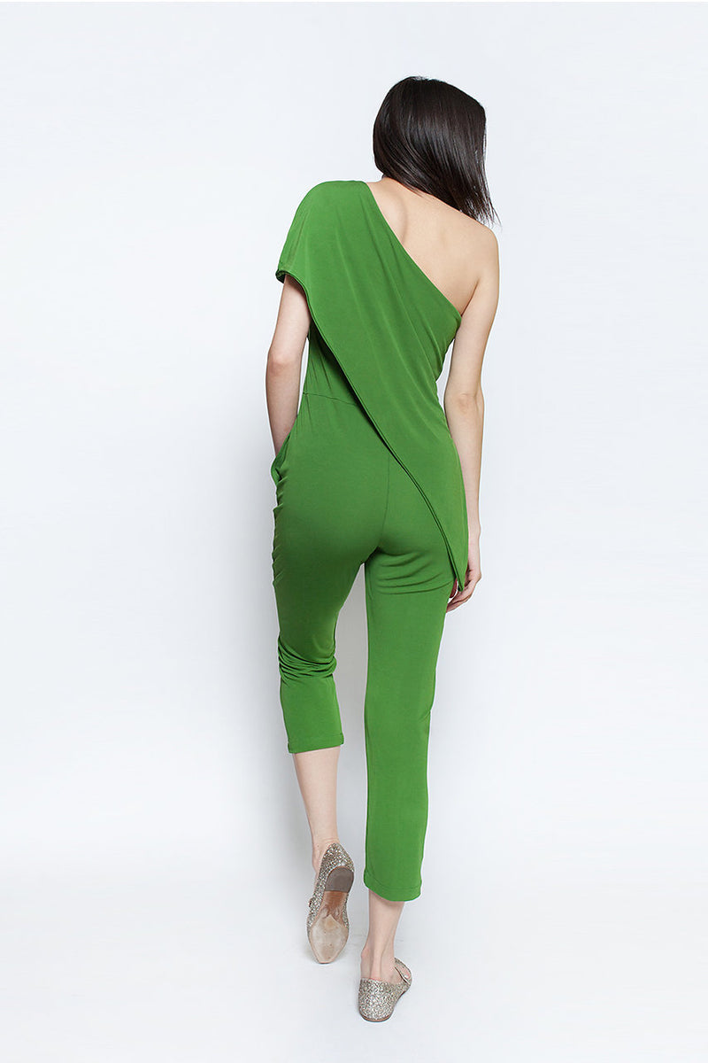 one shoulder green travel vacation malfi jumpsuit ellera