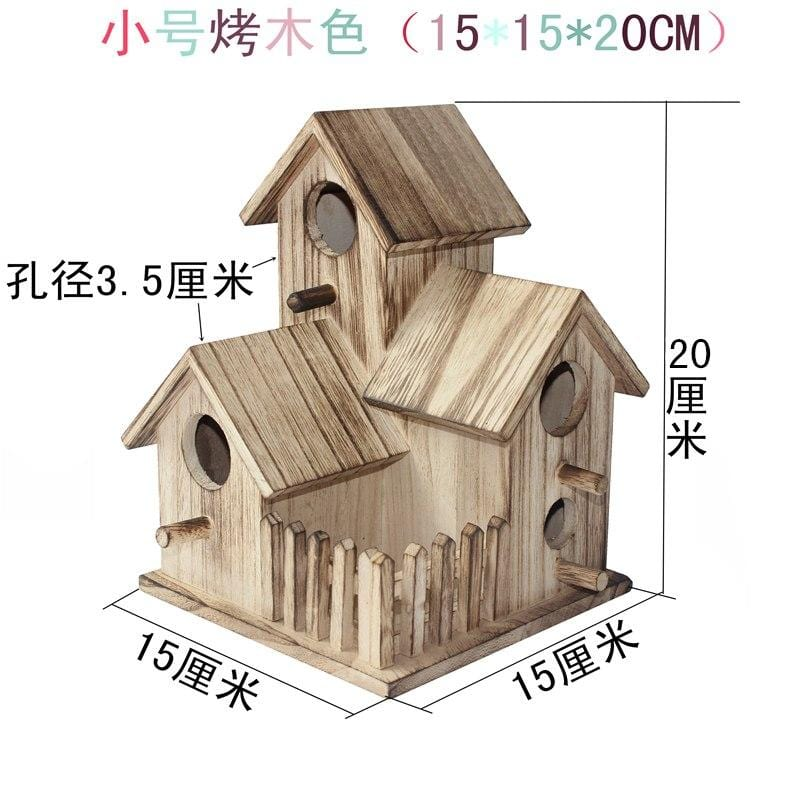 New wooden outdoor bird house breeding box Wen Xuanfeng tiger skin peony parrot bird nest wooden house nest cage toy