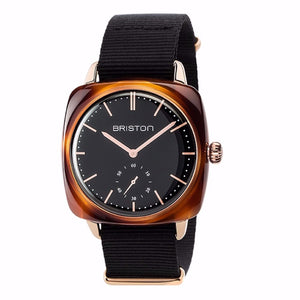 Briston - Clubmaster Vintage Acetate - Small Second Gold black dial and rose gold - NATO