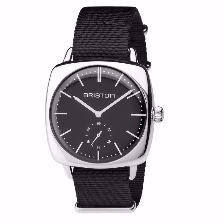 Briston - Clubmaster Vintage Steel - Small Second black dial