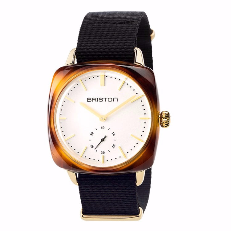 Briston - Clubmaster Vintage Acetate - Small Second Gold white dial and yellow gold - NATO