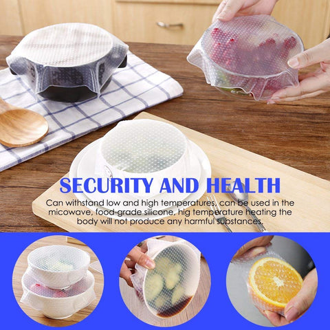 Image of Stretch N Seal Reusable Food Cover, 4 pieces in different sizes